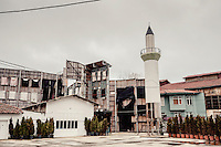 A fake Mosque being built at a film studio in the Beykoz district.