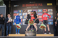 Sonny Colbrelli (ITA/Bahrain-Merida) getting the podium kisses, while Petr Vakoc (CZE/QuickStep Floors) &amp; <br /> Tiesj Benoot (BEL/Lotto-Soudal) stand by<br /> <br /> 57th Brabantse Pijl - La Fl&egrave;che Braban&ccedil;onne (1.HC)<br /> 1 Day Race: Leuven &rsaquo; Overijse (197km)