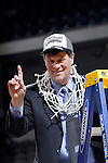 24 MAR 2012:  Head Coach Brad Jackson of Western Washington University celebrates the Vikings victory over the University of Montevallo during the Division II Men's Basketball Championship held at the Bank of Kentucky Center in Highland Heights, KY. Western Washington won the title 72-65.  Joe Robbins/NCAA Photos