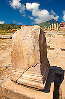 Greek incription on a plynth in the sanctuary of Artimis with the Agora, Magnesia on the Meander arcaeological site, Turkey