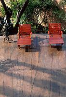 Loungers on hardwood deck