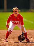 25 April 2009: Boston University Terriers' Infielder Rachel Hebert, a Junior from Humble, TX, in action against the University of Vermont Catamounts at Archie Post Field in Burlington, Vermont. Sadly, the Catamounts are playing their last season of softball, as the program has been marked for elimination due to budgetary constraints at the University. Mandatory Photo Credit: Ed Wolfstein Photo