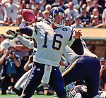 Oakland Raiders vs. San Diego Chargers at Oakland Alameda County Coliseum Sunday, September 3, 2000.  Raiders beat Chargers  9-6.  San Diego Chargers quarterback Ryan Leaf (16).