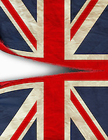 British Union Jack flag being ripped in half
