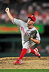 28 September 2010: Philadelphia Phillies' pitcher Roy Oswalt on the mound against the Washington Nationals at Nationals Park in Washington, DC. The Nationals defeated the Phillies 2-1 on an Adam Dunn walk-off solo homer in the 9th inning to even up their 3-game series one game apiece. Mandatory Credit: Ed Wolfstein Photo