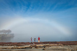 A fogbow appears off of Hollywood Beach in downtown Port Angeles WA.