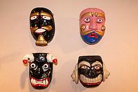 Ceremonial masks of Moros y Cristianos in the Museo de Arte Popular or Museum of Popular Art in San Salvador, El Salvador