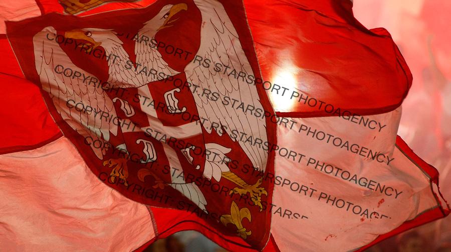 Fudbal.FK Crvena Zvezda Vs. FK Rad.Serbian flag, Delije, Srpska zastava, fans, supporters.Beograd, 23.08.2009..foto: Srdjan Stevanovic/Starsportphoto ©
