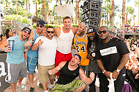 LAS VEGAS, NV - APRIL 29: Rob Gronkowski  and Mojo Rawley pose with Flo Rida and Flavor Flav at Rehab at The Hard Rock Hotel & Casino in Las Vegas, Nevada on April 29, 2017. Credit: GDP Photos/MediaPunch
