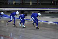SCHAATSEN: HEERENVEEN: 16-06-2014, IJsstadion Thialf, Zomerijs training, Janine Smit, Nao Kodaira (JPN), Margot Boer, ©foto Martin de Jong