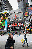 """Advertising on a billboard for the NBC television program """"Smash"""" in Times Square on Sunday, January 22, 2012. The new program is about the production of a new Broadway musical. The show is from Executive Producer Steven Spielberg (© Richard B. Levine)"""