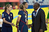 Jack Warner shakes hands with the players. USWNT vs Costa Rica in the 2010 CONCACAF Women's World Cup Qualifying tournament held at Estadio Quintana Roo in Cancun, Mexico on November 8th, 2010.
