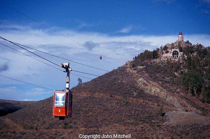 The teleferico and cerro de La Bufa in the city of Zacatecas, Mexico. This Swiss-built  cable car runs from Cerro de La Bufa over the city to Cerro del Grillo.