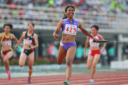 Iyoba Edber, JULY 30, 2015 - Athletics : 2015 All-Japan Inter High School Championships, Womeen's 4100mR Semi-final at Kimiidera Athletic Stadium, Wakayama, Japan. (Photo by YUTAKA/AFLO SPORT)