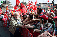 Roma 12 Giugno 2010.Manifestazione dei lavoratori e pensionati del sindacato CGIL per protestare contro la manovra economica del Governo. Giovanni Berlinguer.Rome June 12, 2010.Demonstration of workers and pensioners of the CGIL union, to protest the government's economic measure.