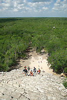Tucked deep into the jungle, the large cluster of ruins at Cobá have largely been left as they were found and are considered to be older than Chitchen Itza. The main attraction is an impressive 138-foot pyramid that towers above the jungle called Nohoch Mul (large hill).
