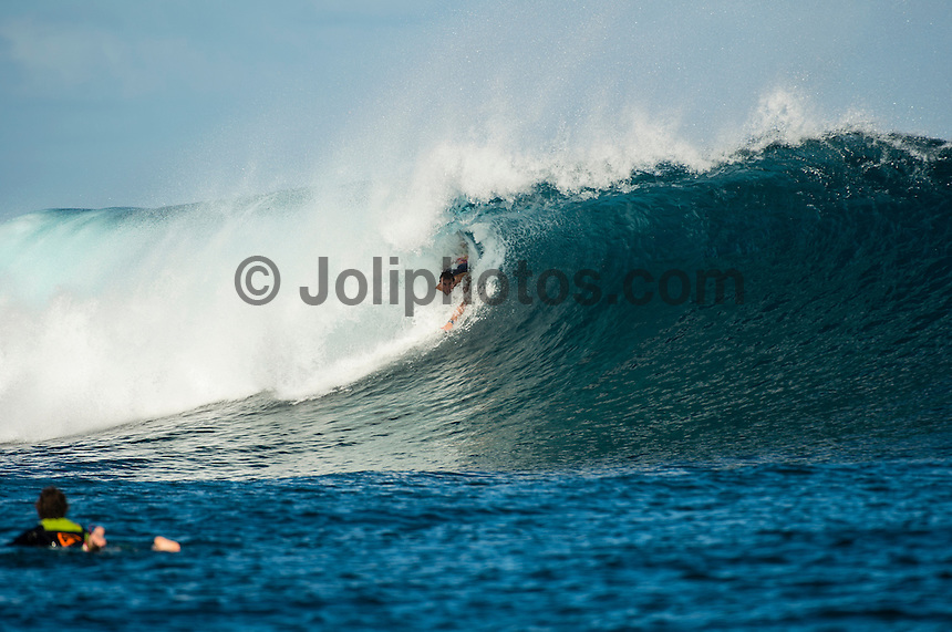 CLOUDBREAK, Namotu Island/Fiji (Monday, June 10, 2013) Joel Parkinson (AUS) bodysurfing while waiting for the call.- After checking conditions at Cloudbreak  this morning, event officials at the Volcom Fiji Pro put the contest on hold a number of times through the day. The last call was made at 2 pm before it was called off for the day. <br /> Stop No. 4 of 10 on the ASP World Championship Tour (WCT), the Volcom Fiji Pro has enjoyed flawless conditions at both Cloudbreak and Restaurants and the current forecast is showing signs of more excellent surf to come.<br /> Photo: joliphotos.com