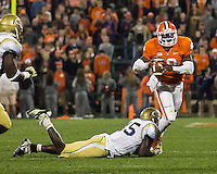 The eighth ranked Clemson Tigers defeat the Georgia Tech Yellow Jackets at Death Valley 55-31 in an ACC matchup.  Clemson Tigers quarterback Tajh Boyd (10), Georgia Tech Yellow Jackets defensive end Jeremiah Attaochu (45)