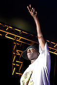 Public Enemy's Flava Flav during a headline performance in City Plaza during the Hopscotch Music Festival in Raleigh, N.C., Sat., Sept. 11, 2010.