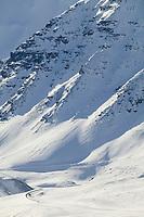 Steep decent of Atigun Pass, Brooks mountain range, along the James Dalton Highway in Arctic, Alaska.