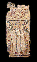 The Christian Eastern Roman Byzantine memorial funerary mosaic for Crescentia. <br /> Above the funerary portrait of Crescentia are the words: &lsquo;Crescentia, innocent and in Peace&rsquo;. Crescentia is dressed in a dalmatic, a long wide-sleeved tunic, with a belt around the waiste and a neclace around her neck. Lit candles represent eternal life. 5th century AD from the western necropolis of Thabraca, Tabarka, Tunisia, Bardo Museum, Tunis, Tunisia. Black background