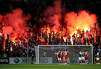 The fans in Section 8 set off flares.  The Portland Timbers defeated the Chicago Fire 1-0 at Toyota Park in Bridgeview, IL on July 16, 2011.