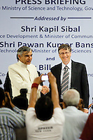 Bill Gates, co-chair of the Bill and Melinda Gates Foundation (BMGF) shakes hands with the Union Minister of Science and Technology /Minister of Earth Sciences / Minister of Parliamentary Affairs, Shri Pawan Kumar Bansal, as they arrive at the &quot;Maximising India's Capacity&quot; press briefing hosted by the Ministry of Science and Technology, Government of India in Le Meridien Hotel, New Delhi, India on 24th March 2011..