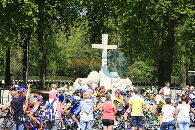 The peloton pass Grebbeberg Military Cemetery on the route of Stage 2 of the 2016 Giro d'Italia running 190km from Arnhem to Nijmegen, The Nethrerlands. 7th May 2016.<br /> Picture: Eoin Clarke | Newsfile<br /> <br /> <br /> All photos usage must carry mandatory copyright credit (&copy; Newsfile | Eoin Clarke)