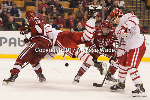 John Marino (Harvard - 12), Charlie McAvoy (BU - 7), Wiley Sherman (Harvard - 25), Brandon Hickey (BU - 4) - The Harvard University Crimson defeated the Boston University Terriers 6-3 (EN) to win the 2017 Beanpot on Monday, February 13, 2017, at TD Garden in Boston, Massachusetts.