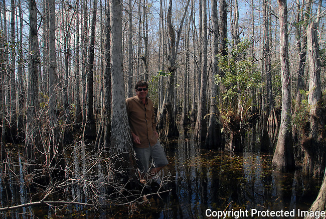 naturalist and Everglades back country guide Garl Harrold in a cypress mound in Everglades National Park