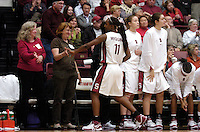 21 November 2006: Professor of the game Carol Boggs, friend Judy Washburn, Rosalyn Gold-Onwude, Christy Titchenal, Morgan Clyburn, Candice Wiggins, and Melanie Murphy during Stanford's 75-60 win against the Missouri Tigers at Maples Pavilion in Stanford, CA.