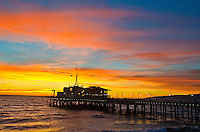 Santa Monica Pier amid the sunset on Monday, January 7, 2013...