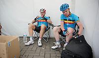 Stijn Devolder (BEL) &amp; Nick Nuyens (BEL) together in a national (selection) team<br /> <br /> Halle - Ingooigem 2013<br /> 197km