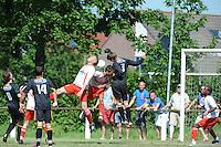 VOETBAL: SINT NICOLAASGA: Sportpark v.v. Renado, 27-05-2012, Nacompetitie Zondag 3e/4e klasse, Renado 1 - SC Stiens 1, Eindstand 2-2, in de slotminuten drukte voor de goal van SC Stiens, Sven Lunter (#8 SC Stiens), Harmen Visser (#14 SC Stiens), Piet van der Wey (#12 Renado), Thijs Postma (#4 Renado), Selwin de Vries (#3 SC Stiens), Helder Correia Oliveira (#2 Renado), ©foto Martin de Jong