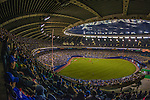28 March 2014: A crowd of 46,121 fill the seats of Olympic Stadium for a pre-season exhibition game between the Toronto Blue Jays and the New York Mets in Montreal, Quebec. The Blue Jays broke a 4-4 deadlock in the bottom of the 9th to edge out the Mets 5-4 in the first MLB game in Montreal since September 29, 2004. Mandatory Credit: Ed Wolfstein Photo *** RAW (NEF) Image File Available ***