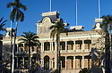 Iolani Palace, the only royal palace in the USA; downtown historic district, Honolulu, Oahu, Hawaii.