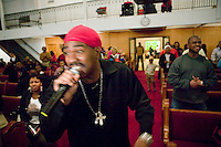 New York, USA - Hip-hop pioneer Kurtis Blow raps during mass at the Greater Hood Memorial AME Zion Church, home of the Hip-Hop Church, in Harlem, New York, USA, 3 February 2005. Photo Credit: David Brabyn.