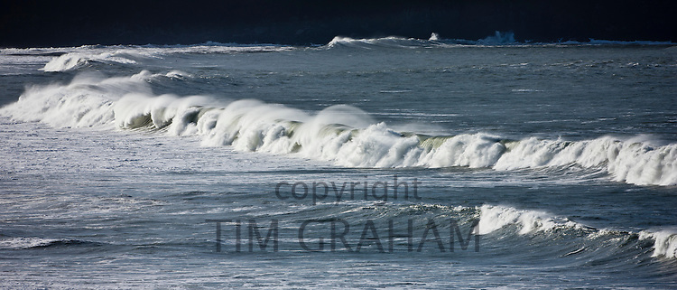 Rolling waves in the sea at Woolacombe Bay, North Devon, UK