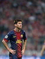 FUSSBALL  CHAMPIONS LEAGUE  HALBFINALE  HINSPIEL  2012/2013      FC Bayern Muenchen - FC Barcelona      23.04.2013 Lionel Messi (Barca)  ist enttaeuscht