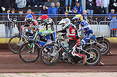 Heat 6: Barrie Evans (red), Ben Morley (blue), Dylan Black (yellow) and Shawn McConnell - Hackney Hawks vs Team America - Speedway Challenge Meeting at Rye House - 09/04/11 - MANDATORY CREDIT: Gavin Ellis/TGSPHOTO - Self billing applies where appropriate - Tel: 0845 094 6026