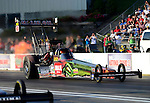 May 18, 2012; Topeka, KS, USA: NHRA top fuel dragster driver Terry McMillen during qualifying for the Summer Nationals at Heartland Park Topeka. Mandatory Credit: Mark J. Rebilas-