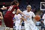 01 February 2015: North Carolina's Allisha Gray (15) and Boston College's Martina Mosetti (ITA) (21). The University of North Carolina Tar Heels hosted the Boston College Eagles at Carmichael Arena in Chapel Hill, North Carolina in a 2014-15 NCAA Division I Women's Basketball game. UNC won the game 72-60.