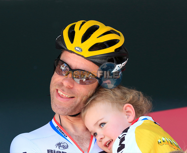 Bram Tankink (NED) Team Lotto NL-Jumbo with his kids at sign on before the start of Stage 3 of the 2016 Giro d'Italia running 190km from Nijmegen to Arnhem, The Nethrerlands. 8th May 2016.<br /> Picture: Eoin Clarke   Newsfile<br /> <br /> <br /> All photos usage must carry mandatory copyright credit (&copy; Newsfile   Eoin Clarke)