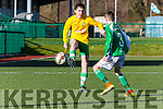 Cian O'Leary, Killarney Celtic attacks the Ferrybank defence in the FAI cup clash at Celtic Park on Saturday.