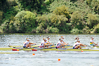 Hamilton, NEW ZEALAND.  USA W4- move of the start. 2010 World Rowing Championship on Lake Karapiro Monday  01/11/2010. [Mandatory Credit Peter Spurrier:Intersport Images].
