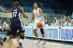 14 November 2012: North Carolina's Krista Gross (21) is defended by Georgetown's Andrea White (11). The University of North Carolina Tar Heels played the Georgetown University Hoyas at Carmichael Arena in Chapel Hill, North Carolina in an NCAA Division I Women's Basketball game, and a semifinal in the Preseason WNIT. UNC won the game 63-48.