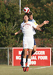 10 November 2007: NC State's Alan Sanchez (17) and Duke's Tim Jepson (behind) challenge for a header. The Duke University Blue Devils defeated the North Carolina State University Wolfpack 2-0 at Method Road Soccer Stadium in Raleigh, North Carolina in an Atlantic Coast Conference NCAA Division I Men's Soccer game.