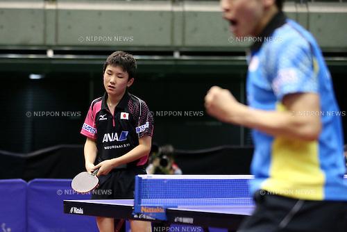 Tomokazu Harimoto (JPN), <br /> JUNE 16, 2016 - Table Tennis : <br /> ITTF World Tour, Japan Open 2016 <br /> men's singles qualifying round match <br /> at Tokyo Metropolitan Gymnasium, Tokyo, Japan. <br /> (Photo by AFLO SPORT)