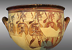 Large wine krater known as &quot;House of the Warrior Vase&quot;, showing men in full armour ( helmet, cuirass, greaves, shield and spear ) as they depart fro war with a sack of supplies hanging from their spears. A fine example of Mycenaean Pictoral Style. Mycenae acropolis, Greece. 12th century BC, cat no: 1426 ,  National Archaeological Museum, Athens.