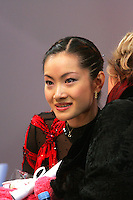 November 19, 2005; Paris, France; Figure skating star SHIZUKA ARAKAWA of Japan waits for her winning score for bronze in ladies figure skating at Trophee Eric Bompard, ISU Paris Grand Prix competition.  Arakawa is one of the favorites for medals in ladies at the Torino 2006 Olympics.<br />